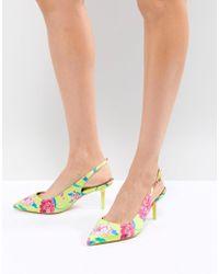 ALDO - Kitten Heel Sling Back Shoe In Bright Yellow Floral - Lyst