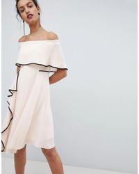 Coast - Bardot Soft Dress With Black Tipping - Lyst