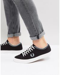 Fred Perry - Kendrick Canvas Plimsolls In Black - Lyst
