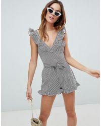 Fashion Union - Stripe Beach Romper - Lyst