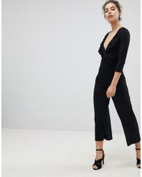 Miss Selfridge | Ruffle Front Wrap Jumpsuit | Lyst
