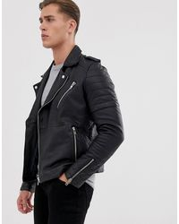 Barneys Originals Quilted Real Leather Zipped Biker - Black