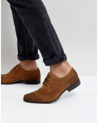 ASOS - Brogue Shoes In Tan Faux Suede - Lyst