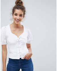 ASOS - Ponte Puff Sleeve Top With Corset Detail - Lyst
