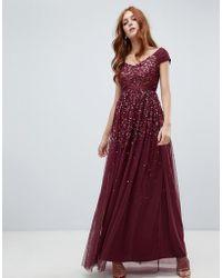 Amelia Rose - Vestito lungo con decorazione di paillettes sfumata con spalline stile canotta colore mora - Lyst