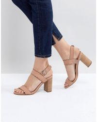 Dune - Two Part Block Heel Scalloped Leather Sandal In Blush - Lyst
