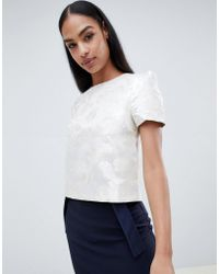 Vesper - Floral Short Sleeve Top - Lyst