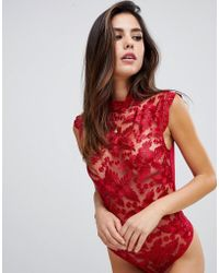 Lipsy - Nora Lace Sleeveless Bodysuit - Lyst