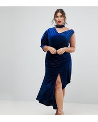 ASOS - Red Carpet Deconstructed Velvet Midi Dress With Cut Out Neck - Lyst