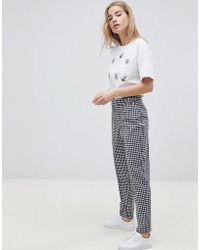 ASOS - Design Tailored Gingham Tapered Trouser With Belt And Buckle Detail - Lyst