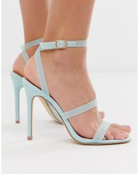 58a183640d92 Miss Selfridge Diamante Bow Back Sandals in Gray - Lyst