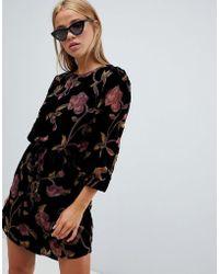 143f119a02b0 Mango Deep V Back Velvet Dress in Black - Lyst