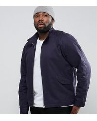 ASOS - Plus Harrington Jacket With Funnel Neck In Navy - Lyst