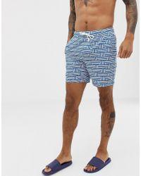 Original Penguin - Geo Print Swim Shorts In Classic Blue - Lyst