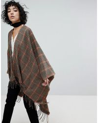 ASOS - Check Hooded Cape - Lyst