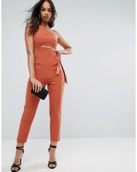 ASOS   One Shoulder Jumpsuit With Knot Detail   Lyst