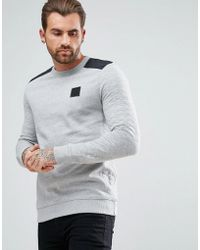 River Island | Quilted Sweater With Motif In Grey | Lyst