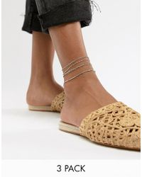 ASOS - Design Pack Of 3 Anklets With Multi Row Chains In Gold - Lyst