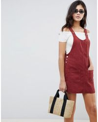 ASOS - Cord Pinafore Dress In Rust - Lyst