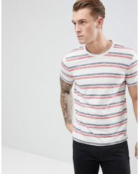 Esprit - T-shirt With Double Stripe In White - Lyst