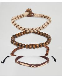 ASOS - Design Bracelet Pack With Beads And Rope In Brown - Lyst