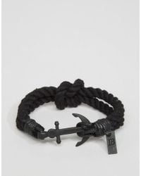 Icon Brand | Anchor Woven Bracelet In Black | Lyst