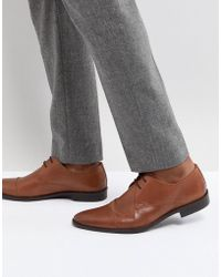 Frank Wright - Toe Cap Derby Shoes In Tan Leather - Lyst