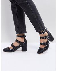 ASOS DESIGN - Asos Tougan Studded Mid Heeled Shoes - Lyst