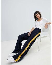 Mango - Side Stripe Wide Leg Pants - Lyst