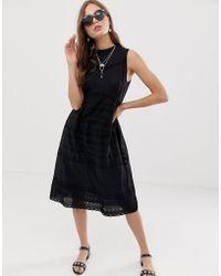 4fd7db1e00 River Island Black Lace Victoriana Bodycon Dress in Black - Lyst