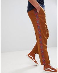 ASOS - Tapered Smart Trousers In Tan With Aztec Embroidered Side Stripe - Lyst