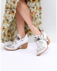 Jeffrey Campbell - Leather White Western Laser Cut Ankle Boots - Lyst