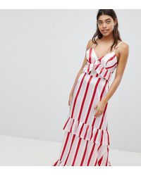 4442560b21 Boohoo - Satin Ruffle Striped Maxi Dress - Lyst