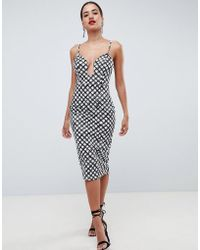 ASOS DESIGN - U Bar Bodycon Dress In Mono Print - Lyst