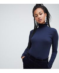 Esprit - Jersey Roll Neck Top In Navy - Lyst