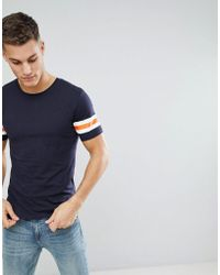 Only & Sons - Longline T-shirt With Stripe Sleeve Detail - Lyst