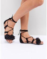 d647b60b6d3e Lyst - Park Lane Wide Fit Suede Tie Leg Flat Sandals in Black