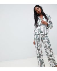 ASOS - Asos Design Tall Monkey Print Double Breasted Shirt And Trouser Pyjama Set - Lyst