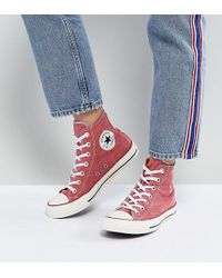 Converse - Chuck Taylor All Star Hi Trainers In Stonewashed Red - Lyst