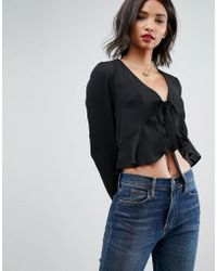 ASOS - Ruffle Top With Tie Front - Lyst