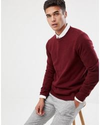 ASOS - Lambswool Jumper In Burgundy - Lyst