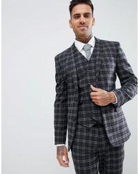 ASOS - Chaqueta de traje muy ajustada con estampado de cuadros grises en el  mismo tono e9bf2a292d9a