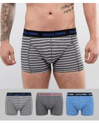 Jack & Jones - 3 Pack Trunks With Stripes - Lyst