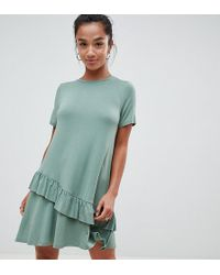 f2d2854f121e ASOS - Asos Design Petite Mini T-shirt Dress With Drop Ruffle Hem - Lyst