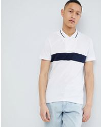 SELECTED - 1/4 Zip Polo Shirt With Block Panel - Lyst