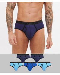 ASOS - Briefs In Blue With Branded Waistband 5 Pack In Organic Cotton - Lyst