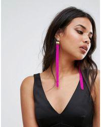 LoveRocks London - Hot Pink Tassel Statement Earrings - Lyst