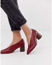 Vagabond - Deep Red Leather Block Heeled Court Shoes With Wooden Heel - Lyst
