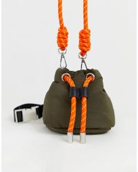 d3ddc185d8ab Pull&Bear - Nylon Bucket Bag With Rope Tie In Green - Lyst