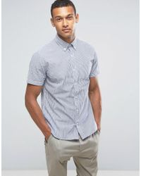 Mango | Man Short Sleeve Shirt In Blue And White Stripe | Lyst